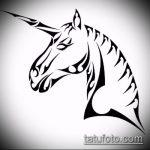 эскиз тату единорог №198 - достойный вариант рисунка, который удачно можно использовать для доработки и нанесения как татуировка единорог на спине
