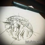 эскиз тату единорог №838 - прикольный вариант рисунка, который успешно можно использовать для переделки и нанесения как татуировка единорог прикол