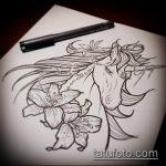 эскиз тату единорог №693 - эксклюзивный вариант рисунка, который удачно можно использовать для доработки и нанесения как татуировка единорог на лопатке