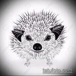 эскиз тату ежик №742 - крутой вариант рисунка, который удачно можно использовать для переработки и нанесения как татуировка ежик с цветами