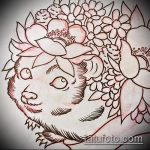 эскиз тату ежик №824 - прикольный вариант рисунка, который удачно можно использовать для доработки и нанесения как татуировка ежик на ноге