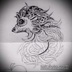 эскиз тату ежик №791 - интересный вариант рисунка, который хорошо можно использовать для переделки и нанесения как татуировка ежик с цветами