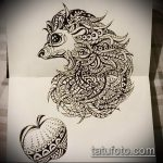 эскиз тату ежик №301 - интересный вариант рисунка, который успешно можно использовать для переработки и нанесения как татуировка ежик с пистолетом