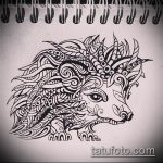 эскиз тату ежик №268 - крутой вариант рисунка, который легко можно использовать для доработки и нанесения как татуировка ежик с цветами