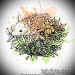 эскиз тату ежик №388 - классный вариант рисунка, который легко можно использовать для доработки и нанесения как татуировка ежик с шариком