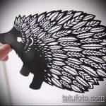 эскиз тату ежик №770 - эксклюзивный вариант рисунка, который легко можно использовать для переработки и нанесения как татуировка ежик с пистолетом