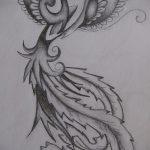 эскиз тату жар птица №296 - достойный вариант рисунка, который хорошо можно использовать для переработки и нанесения как татуировка жар птица на животе