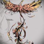 эскиз тату жар птица №568 - уникальный вариант рисунка, который удачно можно использовать для доработки и нанесения как татуировка жар птица на боку