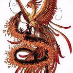 эскиз тату жар птица №663 - крутой вариант рисунка, который хорошо можно использовать для переработки и нанесения как татуировка жар птица на бедре