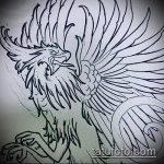 эскиз тату жар птица №106 - достойный вариант рисунка, который удачно можно использовать для переработки и нанесения как татуировка жар птица на бедре