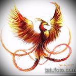 эскиз тату жар птица №493 - прикольный вариант рисунка, который легко можно использовать для переделки и нанесения как татуировка жар птица на боку