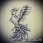 эскиз тату жар птица №204 - классный вариант рисунка, который успешно можно использовать для преобразования и нанесения как татуировка жар птица на спине