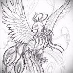 эскиз тату жар птица №406 - интересный вариант рисунка, который легко можно использовать для доработки и нанесения как татуировка жар птица на животе