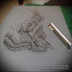 эскиз тату жар птица №122 - классный вариант рисунка, который легко можно использовать для доработки и нанесения как татуировка жар птица на бедре