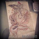 эскиз тату жар птица №699 - классный вариант рисунка, который хорошо можно использовать для переработки и нанесения как татуировка жар птица на животе