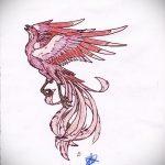 эскиз тату жар птица №348 - классный вариант рисунка, который хорошо можно использовать для доработки и нанесения как татуировка жар птица на ноге