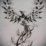 эскиз тату жар птица №174 - эксклюзивный вариант рисунка, который легко можно использовать для преобразования и нанесения как татуировка жар птица на спине