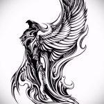 эскиз тату жар птица №66 - крутой вариант рисунка, который успешно можно использовать для доработки и нанесения как татуировка жар птица на боку