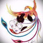эскиз тату жар птица №810 - прикольный вариант рисунка, который хорошо можно использовать для преобразования и нанесения как татуировка жар птица на боку