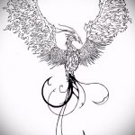 эскиз тату жар птица №790 - эксклюзивный вариант рисунка, который успешно можно использовать для переработки и нанесения как татуировка жар птица на боку
