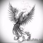 эскиз тату жар птица №654 - достойный вариант рисунка, который легко можно использовать для переделки и нанесения как татуировка жар птица на руке