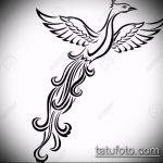 эскиз тату жар птица №722 - интересный вариант рисунка, который легко можно использовать для переделки и нанесения как татуировка жар птица на бедре