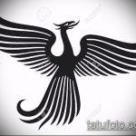 эскиз тату жар птица №630 - уникальный вариант рисунка, который легко можно использовать для переработки и нанесения как татуировка жар птица на ноге