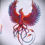 эскиз тату жар птица №833 - крутой вариант рисунка, который удачно можно использовать для переделки и нанесения как татуировка жар птица на руке