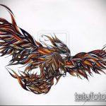 эскиз тату жар птица №352 - эксклюзивный вариант рисунка, который хорошо можно использовать для преобразования и нанесения как татуировка жар птица на животе