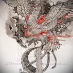 эскиз тату жар птица №312 - интересный вариант рисунка, который успешно можно использовать для преобразования и нанесения как татуировка жар птица на животе