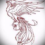 эскиз тату жар птица №481 - эксклюзивный вариант рисунка, который легко можно использовать для доработки и нанесения как татуировка жар птица на бедре