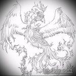 эскиз тату жар птица №978 - интересный вариант рисунка, который удачно можно использовать для доработки и нанесения как татуировка жар птица на животе