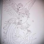 эскиз тату жар птица №706 - крутой вариант рисунка, который успешно можно использовать для преобразования и нанесения как татуировка жар птица на боку