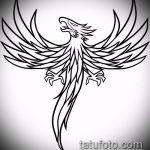 эскиз тату жар птица №658 - классный вариант рисунка, который легко можно использовать для преобразования и нанесения как татуировка жар птица на ноге
