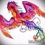 эскиз тату жар птица №944 - эксклюзивный вариант рисунка, который хорошо можно использовать для доработки и нанесения как татуировка жар птица на животе