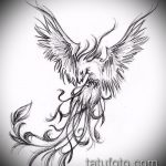 эскиз тату жар птица №107 - прикольный вариант рисунка, который легко можно использовать для доработки и нанесения как татуировка жар птица на бедре