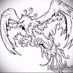 эскиз тату жар птица №278 - крутой вариант рисунка, который удачно можно использовать для переработки и нанесения как татуировка жар птица на боку
