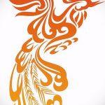 эскиз тату жар птица №845 - крутой вариант рисунка, который легко можно использовать для переделки и нанесения как татуировка жар птица на ноге