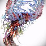 эскиз тату жар птица №42 - уникальный вариант рисунка, который хорошо можно использовать для доработки и нанесения как татуировка жар птица на бедре