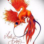 эскиз тату жар птица №172 - достойный вариант рисунка, который удачно можно использовать для доработки и нанесения как татуировка жар птица на животе