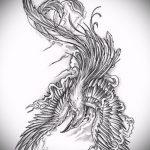 эскиз тату жар птица №852 - достойный вариант рисунка, который удачно можно использовать для доработки и нанесения как татуировка жар птица на ноге