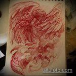 эскиз тату жар птица №117 - классный вариант рисунка, который успешно можно использовать для преобразования и нанесения как татуировка жар птица на бедре