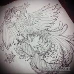 эскиз тату жар птица №549 - уникальный вариант рисунка, который легко можно использовать для переработки и нанесения как татуировка жар птица на ноге