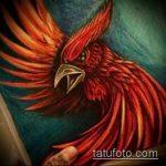эскиз тату жар птица №900 - крутой вариант рисунка, который успешно можно использовать для преобразования и нанесения как татуировка жар птица на боку