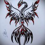 эскиз тату жар птица №64 - крутой вариант рисунка, который легко можно использовать для преобразования и нанесения как татуировка жар птица на боку