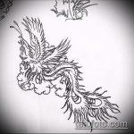 эскиз тату жар птица №149 - интересный вариант рисунка, который хорошо можно использовать для доработки и нанесения как татуировка жар птица на животе