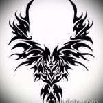 эскиз тату жар птица №972 - достойный вариант рисунка, который легко можно использовать для переделки и нанесения как татуировка жар птица на ноге