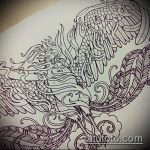 эскиз тату жар птица №466 - крутой вариант рисунка, который успешно можно использовать для доработки и нанесения как татуировка жар птица на бедре