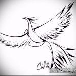 эскиз тату жар птица №519 - крутой вариант рисунка, который легко можно использовать для переработки и нанесения как татуировка жар птица на ноге