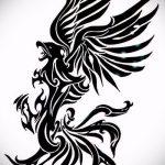 эскиз тату жар птица №320 - эксклюзивный вариант рисунка, который хорошо можно использовать для переработки и нанесения как татуировка жар птица на животе